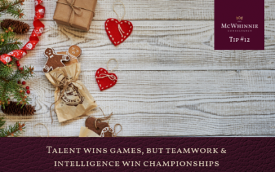 Countdown to Christmas Tip #12 – Talent wins games, but teamwork and intelligence win championships.