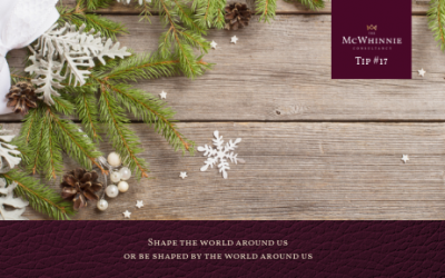 Countdown to Christmas Tip #17 – Shape the world around us or be shaped by the world around us.