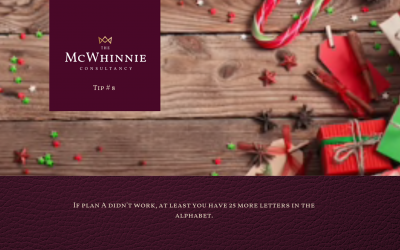 Countdown to Christmas Tip #8 – If plan A didn't work, at least you have 24 more letters in the alphabet.